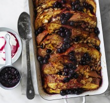 Helen Goh's baked French toast with almond and blueberry maple sauce.