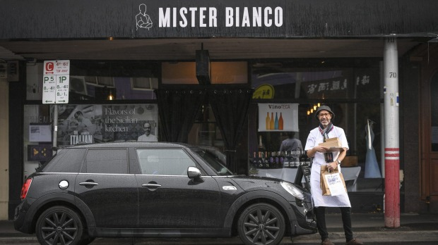 Joseph Vargetto, owner/chef at the Mister Bianco restuarant in Kewsays doing their own delivery is always better.
