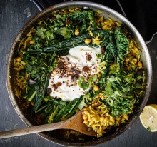 Warm chickpea and rice one-pot wonder