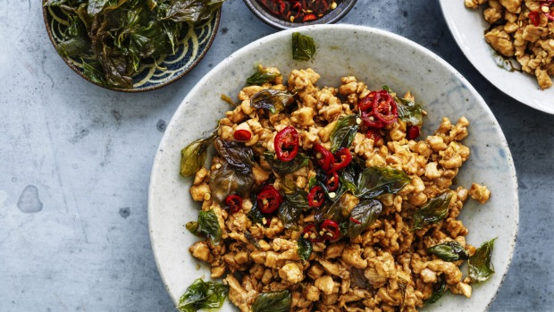 ***EMBARGOED FOR SUNDAY LIFE, MAY 17/20 ISSUE*** Adam Liaw recipe : Black Basil Chicken Photograph by William Meppem (photographer on contract, no restrictions)