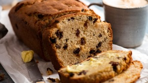 No-yeast raisin bread sliced and ready to be slathered with butter.