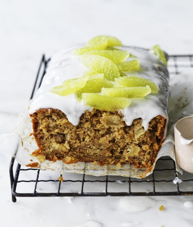 Parsnip, apple and lime loaf cake decorated with 'filleted' lime segments (optional).