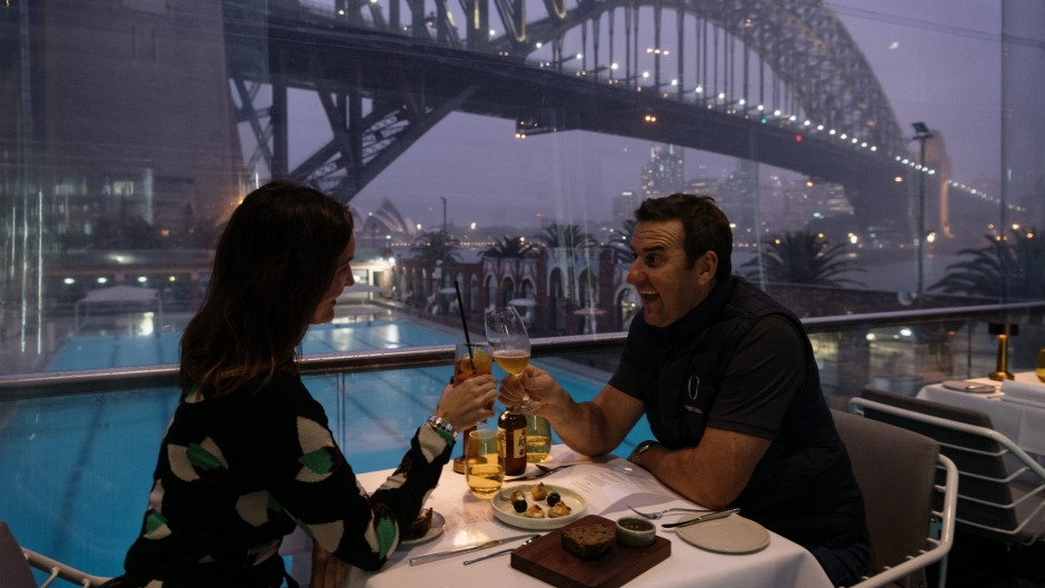 Chris Yates with his wife Marta celebrate their 11th Wedding anniversary at Aqua Dining at Milsons Point as trading ...