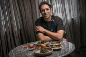 Ben Shewry with some of the dishes on the takeaway menu at Attica restaurant.