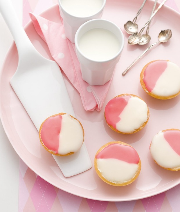 Pretty in pink: two-toned Neenish tarts.