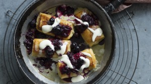 Cheese blintzes with blueberry compote Recipe by Monday Morning Cooking Club from cookbook Now For Something ...