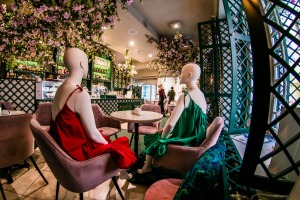 Restaurants in the Lithuanian capital Vilnius are dressing mannequins in outfits from local designers.
