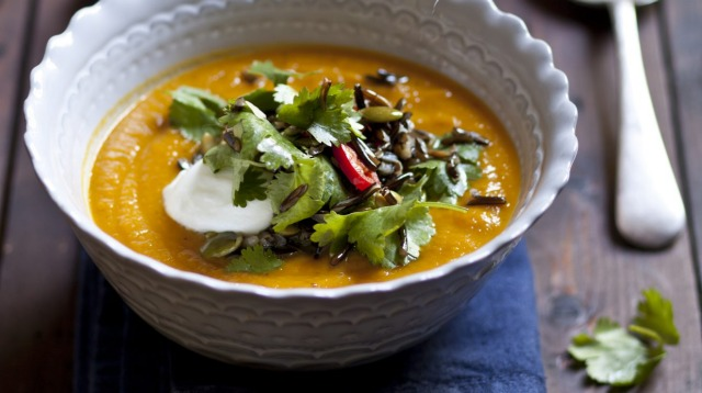 Karen Martini's roasted root vegetable soup with cinnamon and ginger.