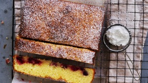 Is it a cake? Is it a slice? Lemon 'brownies' with frozen berries.