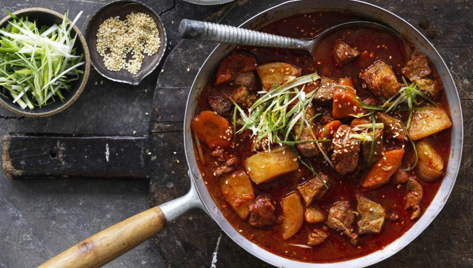 The gochujang and gochugaru add mild sweet spice to this stew.