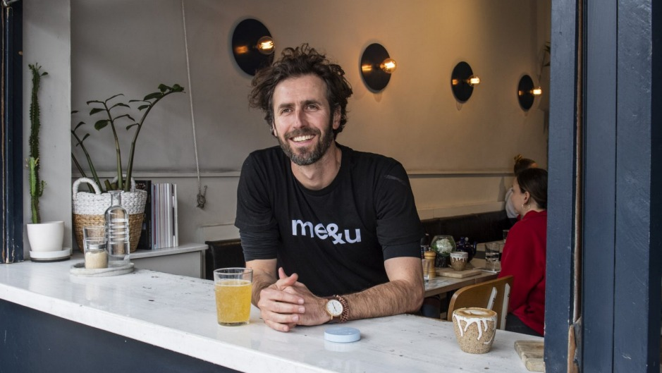 Stevan Premutico, founder of contactless menu payment app Me&u at The Nine cafe in Bondi.