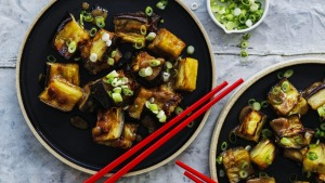Miso-roasted eggplant.