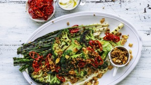 Charred broccoli and spring onion with chilli, buckwheat and tahini.