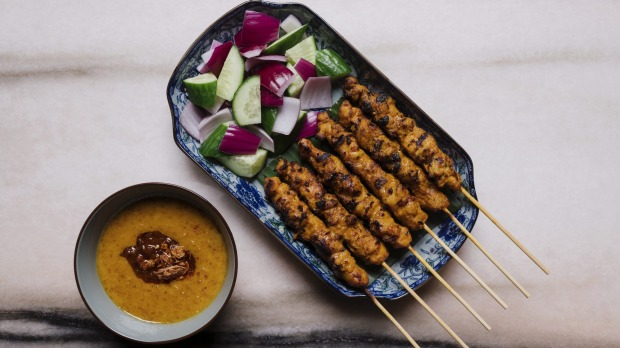 The chicken satay smells of smoky charcoal, with a well-judged peanut sauce for dipping.