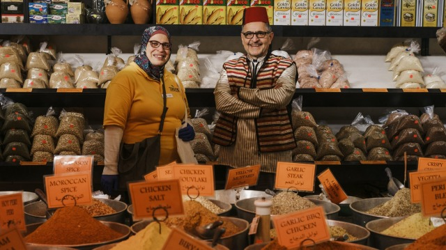 Valley View Continental Groceries and Spices owner Ali Hamad with Sahar Elsemary from Taste Cultural Food Tours.