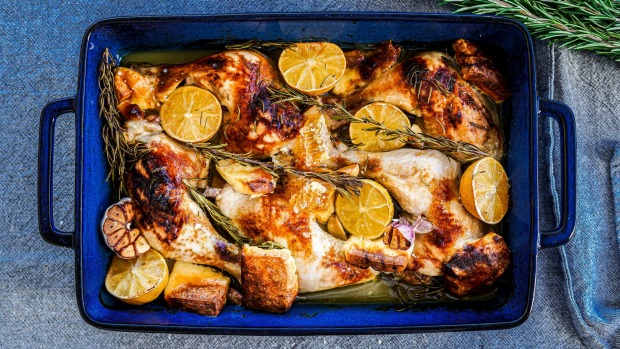 One pan chicken and haloumi bake with pepper honey. Minimal ingredient midweek recipes for Good Food June 2020. Please credit KatrinaMeynink. Good Food use only