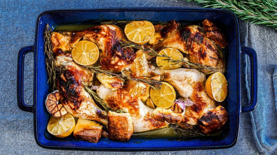 One-pan wonder: Roast chicken marylands and haloumi cheese with added fresh honeycomb (if you're feeling extra).