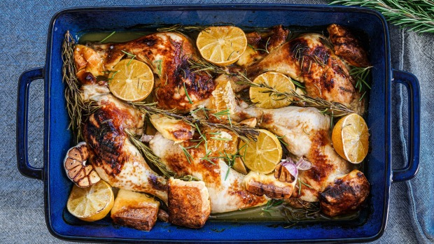 One pan chicken and haloumi bake with pepper honey.