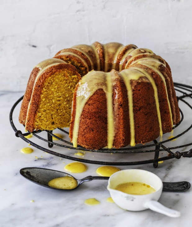 Saffron-infused milk adds a bright splash of colour to this cake and its icing.