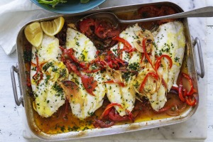 Any white-fleshed fish will work in this self-saucing one-tray bake.