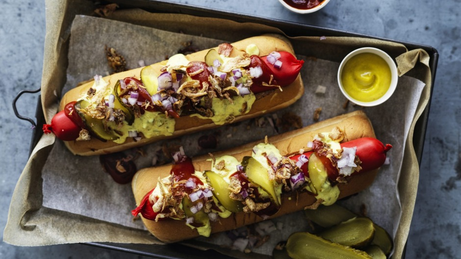 Scandi-style hotdogs with remoulade.