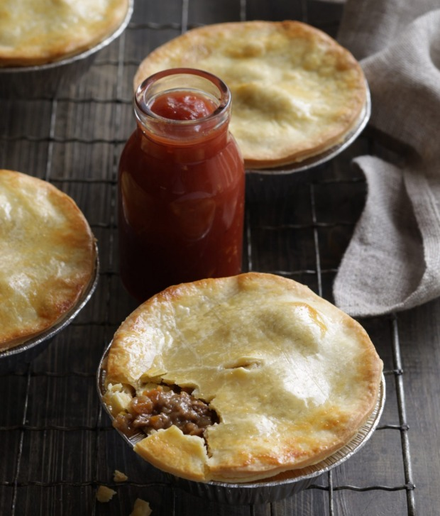 Old-fashioned meat pies with tomato sauce, of course.