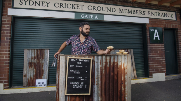 Kamilaroi man Corey Grech, selling kangaroo pies with his food truck Meat Brothers, outside Sydney Cricket Ground. 1st March 2019 Photo by Louise Kennerley SMH