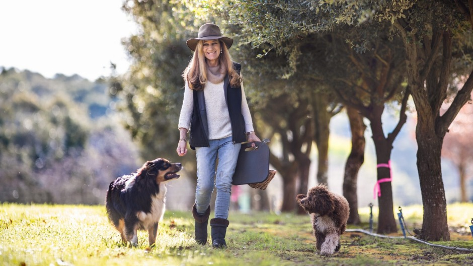 Black Cat Truffles owner Kristen Simpson with dogs Winston and Lottie.