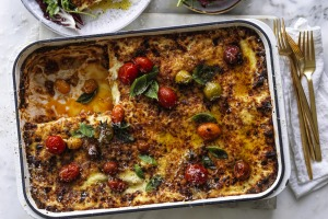Cherry tomato lasagne with easy bechamel.