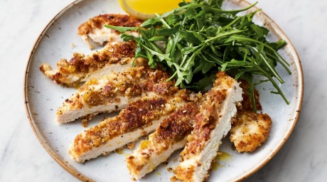 Jamie Oliver S Crispy Garlicky Chicken With Lemony Rocket Recipe Good Food