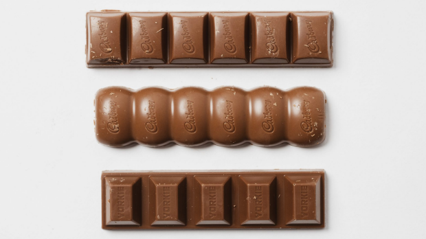 Cadbury's UK Dairy Milk (middle bar) uses a slightly different recipe than the Australian-made version.