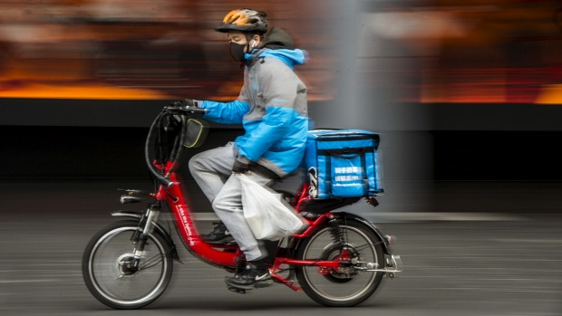 Food delivery bikes in Chinatown 24th June 2020 Photo: Steven Siewert