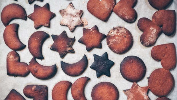 Closeup view of burned gingerbread cookies Cooking disaster, burnt cookies iStock