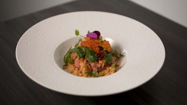 The watermelon salad with shredded salmon is a circus of Thai flavours and techniques.