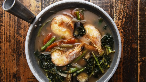 Mama Lor's hot and sour soup, sinigang na hipon.