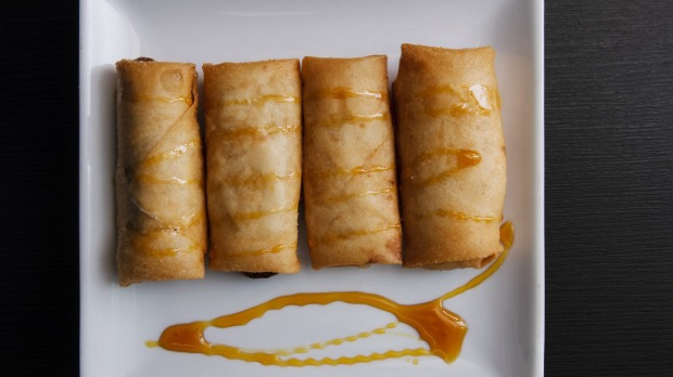 A-Team's Kitchen offers up sweet spring rolls stuffed with banana and taro.