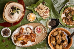 Clockwise from left: Cebu lechon (charcoal roast pork); longanisa fried rice; crisp bicol xpress (spicy fried pork belly ...