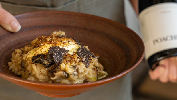 Mushroom risotto with locally grown truffles at Poachers restaurant.