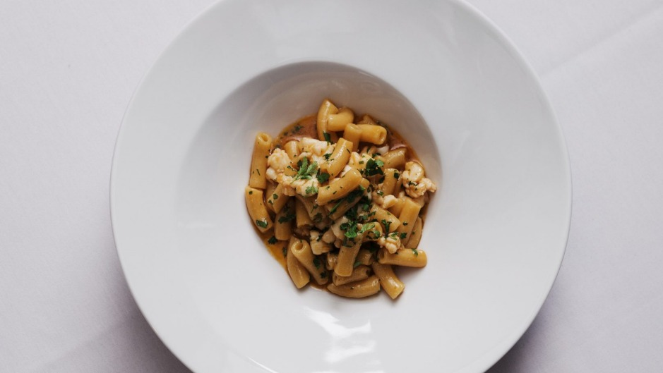 Maccheroncini pasta with lobster.