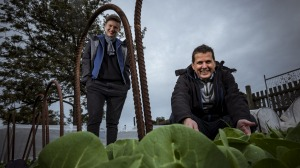 Rebecca Scott of STREAT and Rob Rees of Cultivating Community, pictured in the Collingwood Children's Farm garden beds ...
