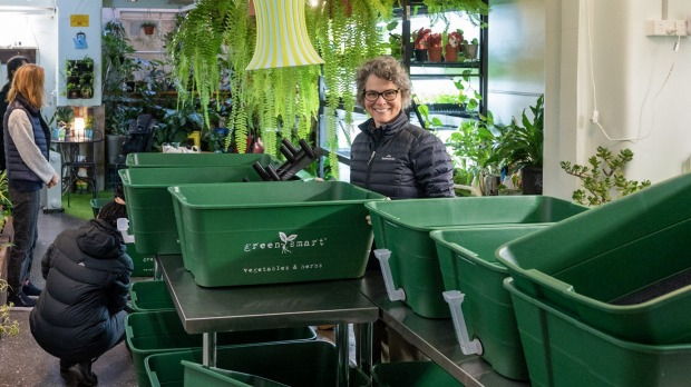 Living boxes being planted as part of Moving Feast's mission to become self-sufficient.