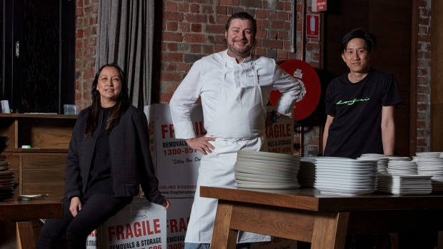 Longrain Melbourne's new owner Scott Pickett (centre) with restaurant manager Natasha Firman (left) and head chef Arte ...