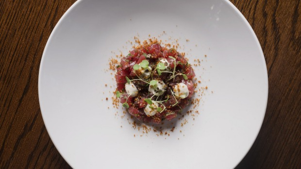 Yellowfin tuna tartare with tuna mayonnaise and bottarga.
