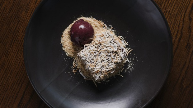 Chocolate lamington with a delicious dark cherry sorbet.