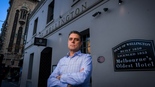 Australian Venue Co. chief executive Paul Waterson outside the group's Duke of Wellington pub in Melbourne's CBD.