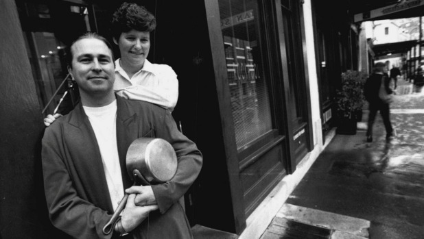 Rockpool restaurateurs Neil Perry and Trish Richards outside their Rocks restaurant in 1994.
