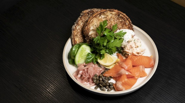 Bagel and smoked trout served at PIÑA POP UP in Potts Point, Sydney on July 10, 2020. Photo: Dominic Lorrimer