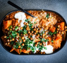 Sweet potato and lentil curry with roasted spiced chickpeas.