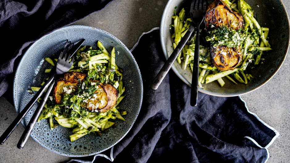 Slow-roasted celeriac steaks with pear salad and quick herbgremolata.