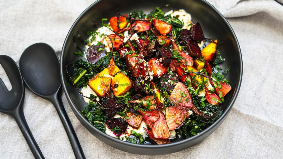 Slow-cooked beetroot salad with horseradish ricotta.